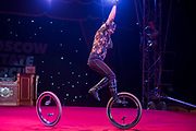 Unicyclists the Gorodetskiys Duo - Moscow State Circus returns to London with it's latest show GOSTINITSA in a centrally heated theatre style Big Top on Hampstead Heath. They will be there from Wed 27th Sept to Sun 1st Oct.