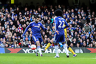 Diego Costa of Chelsea has a chance blocked by the Scunthorpe defence during the The FA Cup match between Chelsea and Scunthorpe United at Stamford Bridge, London, England on 10 January 2016. Photo by Ken Sparks.