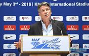 IAAF president Sebastian Coe (GBR) speaks at a news conference at the Intercontinental Doha Hotel-The City, Thursday, May 2, 2019, in Doha, Qatar prior to the 2019 IAAF Diamond League Doha meeting. (Jiro Mochizuki/Image of Sport)