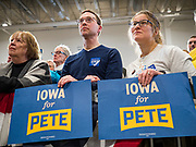 08 DECEMBER 2019 - CORALVILLE, IOWA: People listen to Mayor Pete Buttigieg speak at a campaign event in Coralville, IA, Sunday. Buttigieg, the mayor of South Bend, Indiana, is running to be the Democratic nominee for President in the 2020 election. Iowa traditionally holds the first presidential selection event of the 2020 election cycle. The Iowa Caucuses are on Feb. 3, 2020.     PHOTO BY JACK KURTZ