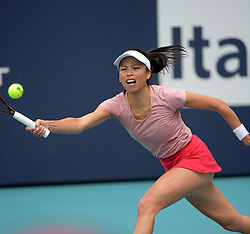 March 23, 2019 - Miami Gardens, Florida, United States Of America - MIAMI GARDENS, FLORIDA - MARCH 23:  Hsieh Su-wei Day 6 of the Miami Open Presented by Itau at Hard Rock Stadium. Japan's world number one Naomi Osaka was sent spinning to a crushing loss when Taiwan's 27th seeded Hsieh Su-wei defeated her in three absorbing sets at the Miami Open on Saturday on March 23, 2019 in Miami Gardens, Florida..People: Hsieh Su-wei. (Credit Image: © SMG via ZUMA Wire)
