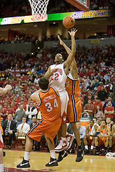 Maryland guard Adrian Bowie (22) shoots over Virginia forward/center Ryan Pettinella (34).  The Maryland Terrapins defeated the Virginia Cavaliers men's basketball team 85-75 at the Comcast Arena in College Park, MD on January 30, 2008.