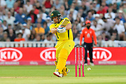 Aaron Finch of Australia plays an attacking shot during the International T20 match between England and Australia at Edgbaston, Birmingham, United Kingdom on 27 June 2018. Picture by Graham Hunt.