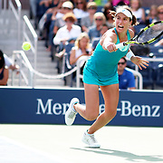 2017 U.S. Open - August 28.  DAY ONE. Johanna Konta of Great Britain in action against Aleksandra Krunic of Serbia on Grandstand during the Women's Singles round one match at the US Open Tennis Tournament at the USTA Billie Jean King National Tennis Center on August 28, 2017 in Flushing, Queens, New York City.  (Photo by Tim Clayton/Corbis via Getty Images)