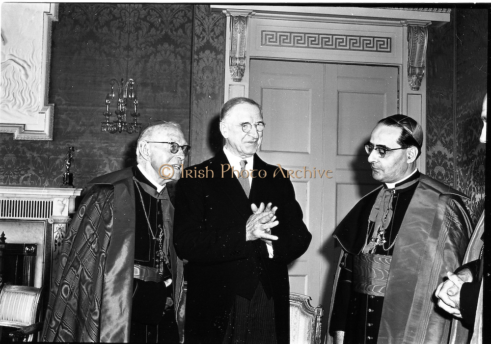 17/08/1962<br /> 08/17/1962<br /> 17 August 1962<br /> New Papal Nuncio presents credentials to the President at Aras an Uachtarain. The new Papal Nuncio His Excellency the Most Rev. Giuseppe Sensi, Titular Archbishop of Sardi. presented his Letter of Credence to President Eamon de Valera at the ceremony. Picture shows (l-r): Cardinal D'Alton; President Eamon de Valera and  His Excellency the Most Rev. Giuseppe Sensi chatting at the ceremony.
