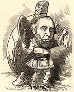 John Ellis, elected Lord Mayor of London, wearing the apron of a Freemason and dancing with a turtle.  Turtle soup is a traditional dish at the Lord Mayor's annual banquet. Cartoon by Edward Linley Sambourne in the Punch's Fancy Portraits series from 'Punch' (London, 12 November 1881).
