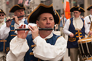 A fifer from the New York Ancients Fife and Drum Corps.