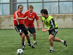 LIVERPOOL, ENGLAND - Tuesday, May 12, 2009: Ex-Liverpool player  Mark Lawrenson with Jan Molby and fitness coach Gerard Nus during a training session at Melwood as the players prepare for the Hillsborough Memorial Game in aid of the Marina Dalglish Appeal which will be staged at Anfield on May 14. (Photo by Dave Kendall/Propaganda)