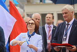 May 25, 2019 - Saint Petersburg, Russia - May 25, 2019. - Russia, Saint Petersburg. - A ceremony to launch the Ural nuclear-powered icebreaker of the Russian Project 22220 at the Baltic Shipyard. In picture: Russian Central Bank Governor Elvira Nabiullina. (Credit Image: © Russian Look via ZUMA Wire)