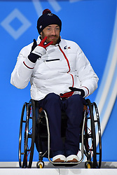 FRANCOIS_Frederic,  ParaSkiAlpin, Para Alpine Skiing, Slalom, Podium during the PyeongChang2018 Winter Paralympic Games, South Korea.