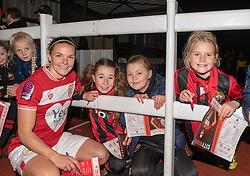 Loren Dykes of Bristol City poses with supporters - Mandatory by-line: Paul Knight/JMP - 17/11/2018 - FOOTBALL - Stoke Gifford Stadium - Bristol, England - Bristol City Women v Liverpool Women - FA Women's Super League 1