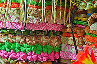Colorful detail of celebratory altar decoration in East Bali, Indonesia