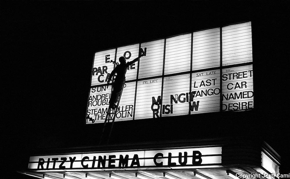 The Ritzy Cinema Club bill-board, September 1980. Brixton, London. England.