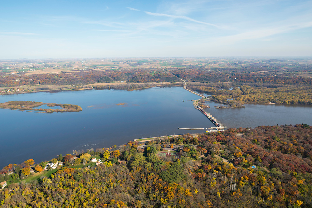 Aerial view of the Mississippi River and Lock & Dam number 11, north of Dubuque, Iowa, with Wisconsin in the background.. Dubuque's Eagle Point Park is in the foreground.