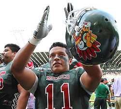 10.07.2011, Tivoli Stadion, Innsbruck, AUT, American Football WM 2011, Group A, Mexico (MEX) vs Australia (AUS), im Bild Jaimes Luis felipe (Mexico, #11, SS) after the win // during the American Football World Championship 2011 Group A game, Mexico vs Australia, at Tivoli Stadion, Innsbruck, 2011-07-10, EXPA Pictures © 2011, PhotoCredit: EXPA/ T. Haumer