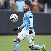 NEW YORK, NEW YORK - April 12: Ethan White #3 of New York City FC in action during the New York City FC Vs San Jose Earthquakes regular season MLS game at Yankee Stadium on April 1, 2017 in New York City. (Photo by Tim Clayton/Corbis via Getty Images)