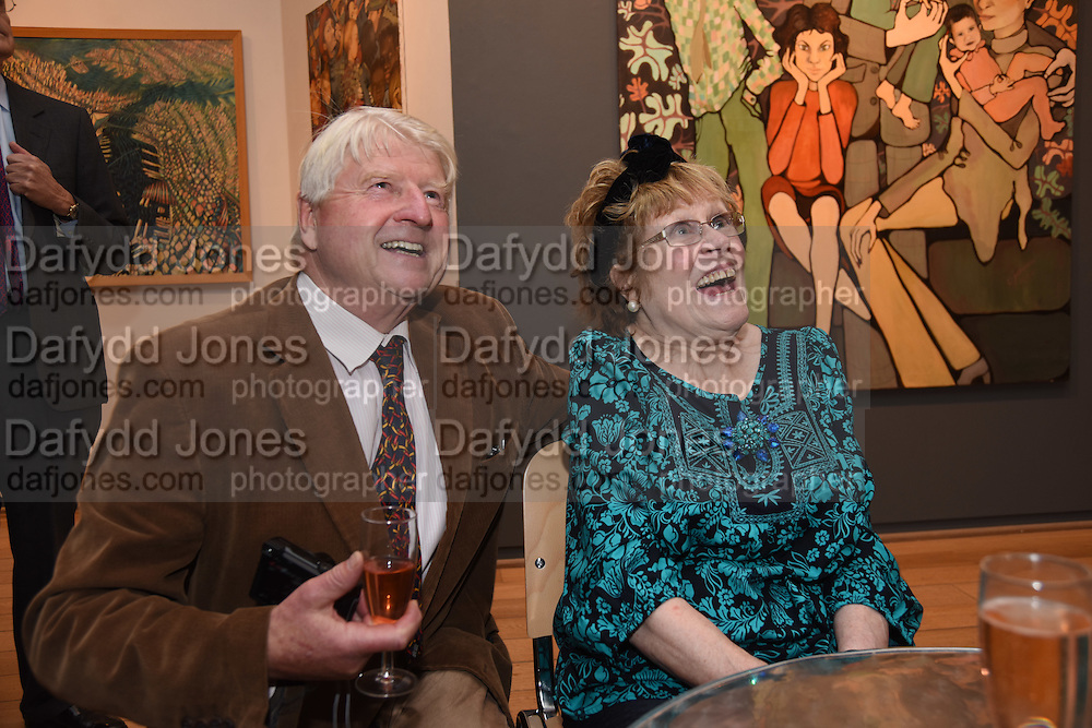 STANLEY JOHNSON; CHARLOTTE JOHNSON WAHL, Exhibition opening of paintings by Charlotte Johnson Wahl. Mall Galleries. London, 7 September 2015.