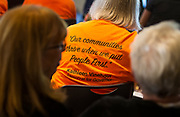 Kathleen Vinehout's supporters filled the crowd with orange t-shirts during the Final Four Democratic Gubernatorial candidate forum, presented by Wisconsin's Choice, at the Goodman Community Center in Madison, Wisconsin, Sunday, July 15, 2018.