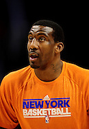 Jan. 7 2011; Phoenix, AZ, USA; New York Knicks forward Amar'e Stoudemire (1) warms up during a game against the Phoenix Suns at the US Airways Center. The Knicks defeated the Suns 121-96. Mandatory Credit: Jennifer Stewart-US PRESSWIRE.