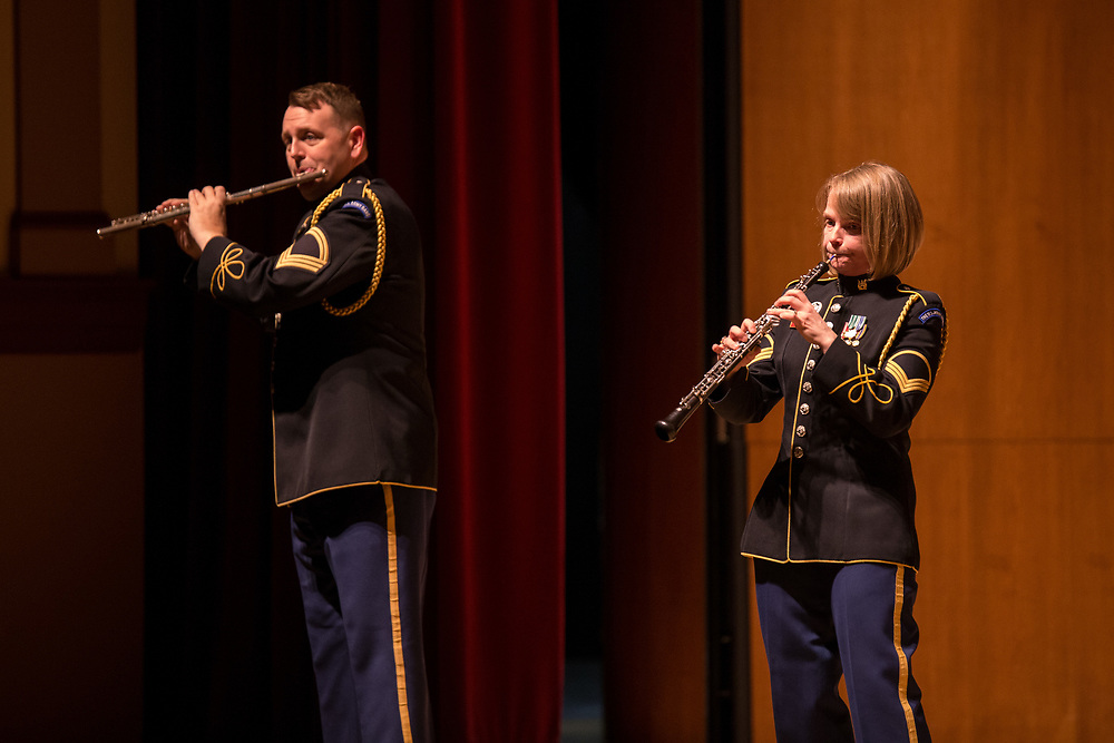 The US Army Woodwind Quintet performs in Schaeffer Auditorium at Kutztown University on, Thursday, March 23, 2017.