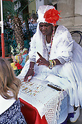 Obeah, Woman, Cuba, Reading Tarot Cards, Cigar, White Dress, Red Flower High dynamic range imaging (HDRI or HDR)