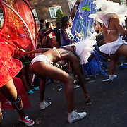 Dancers whining their way along the parade to the joy of the spectators. The Notting Hill Carnival has been running since 1966 and is every year attended by up to a million people. The carnival is a mix of amazing dance parades and street parties with a distinct Caribbean feel.