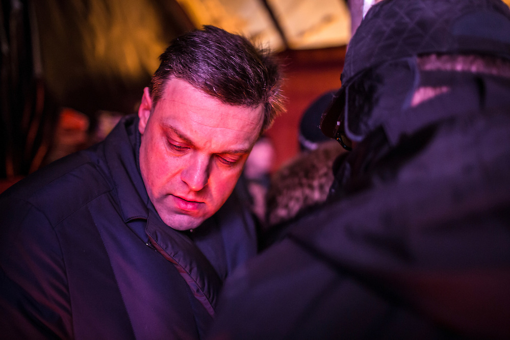 KIEV, UKRAINE - JANUARY 25: Oleh Tiahnybok, leader of the opposition political party Svoboda, waits back stage before speaking to the crowd of anti-government protesters on Independence Square on January 25, 2014 in Kiev, Ukraine. After two months of primarily peaceful anti-government protests in the city center, new laws meant to end the protest movement have sparked violent clashes in recent days. (Photo by Brendan Hoffman/Getty Images) *** Local Caption *** Oleh Tiahnybok