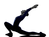 woman exercising Anjaneyasana lunge pose yoga silhouette shadow white background