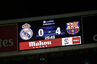 Scoreboard during 2015-16 La Liga match between Real Madrid and Barcelona at Santiago Bernabeu stadium in Madrid, Spain. November 21, 2015. (ALTERPHOTOS/Victor Blanco)