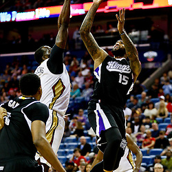Mar 7, 2016; New Orleans, LA, USA; New Orleans Pelicans center Kendrick Perkins (5) blocks a shot by Sacramento Kings center DeMarcus Cousins (15) during the first quarter of a game at the Smoothie King Center. Mandatory Credit: Derick E. Hingle-USA TODAY Sports