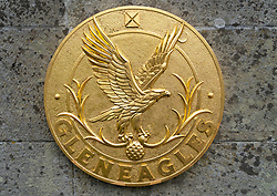 Plaque with eagle at entrance to Gleneagles hotel.