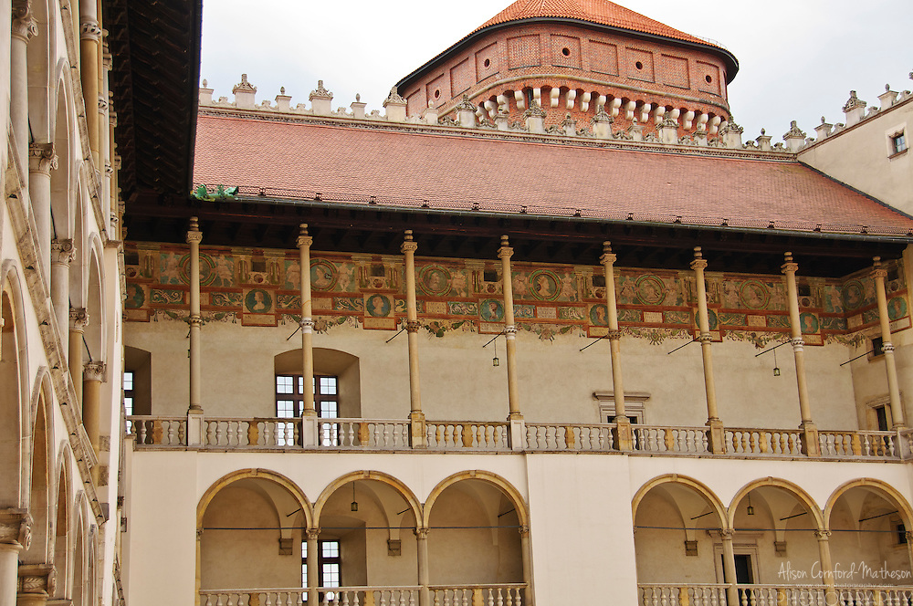 The Gothic Wawel Castle in Krakow (Cracow), Poland is a UNESCO Wold Heritage Site.