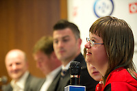 SO athletes while Special Olympics's press conference before European Football Week at Novotel Hotel in Warsaw on May 15, 2013..The mission of Special Olympics is to provide sports training and athletic competition for children and adults with intellectual disabilities...Poland, Warsaw, May 15, 2013...Picture also available in RAW (NEF) or TIFF format on special request...For editorial use only. Any commercial or promotional use requires permission...Photo by © Adam Nurkiewicz / Mediasport