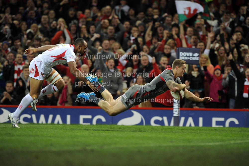 Owen Williams of Wales dives over for the 1st try. Dove Men series, autumn international rugby match, Wales v Tonga at the Millennium Stadium in Cardiff, South Wales on Friday 22nd November 2013. pic by Andrew Orchard, Andrew Orchard sports photography,