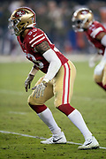 San Francisco 49ers outside linebacker Mark Nzeocha (53) chases the action during the NFL week 10 regular season football game against the New York Giants on Monday, Nov. 12, 2018 in Santa Clara, Calif. The Giants won the game 27-23. (©Paul Anthony Spinelli)