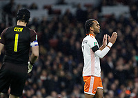 Football - 2018 / 2019 EFL Carabao (League) Cup - Fourth Round: Arsenal vs. Blackpool<br /> <br /> Nathan Delfouneso (Blackpool FC) hold his hands in the air after his goal is disallowed for offside at The Emirates.<br /> <br /> COLORSPORT/DANIEL BEARHAM