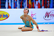 Urushadze Salome during qualifying at ribbon in Pesaro World Cup at Adriatic Arena on April 11, 2015. Salome was born in Tbilisi on August 27,1998. She is a rhythmic gymnast member of the Georgian National Team.