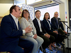 A cross-party group of parliamentarians gathered at the Scottish Poetry Centre in Edinbugh to push the case for a People&rsquo;s Vote. <br /> <br /> Left to right: Tommy Sheppard SNP MP; Christine Jardine, LibDem MP; John Edward, head of the European Parliament Office in Scotland; Kezia Dugdale Labour MSP; and Andy Wightman, Green MSP. <br /> <br /> Pic copyright Terry Murden @edinburghelitemedia