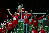 Håndball , 8. desember 2006 , Euro , Norge - Polen ,<br /> illustrasjon , norsk publikum , fan , fans , flagg , pokal , musikk , sang , supporter , supportere