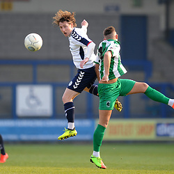 TELFORD COPYRIGHT MIKE SHERIDAN 30/3/2019 - James McQuilkin of AFC Telford battles for the ball during the Vanarama National League North fixture between AFC Telford United and Blyth Spartans at the New Bucks Head.