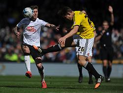 Brentfords James Takowski Derby County v Brentford, Sy Bet Championship, IPro Stadium, Saturday 11th April 2015. Score 1-1,  (Bent 92) (Pritchard 28)<br /> Att 30,050