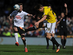 Brentfords James Takowski Derby County v Brentford, Sy Bet Championship, IPro Stadium, Saturday 11th April 2015. Score 1-1,  (Bent 92) (Pritchard 28)<br /> Att 30,050