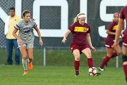 04 November 2016:  Montana Portenier & Katie Grall during an NCAA Missouri Valley Conference (MVC) Championship series women's semi-final soccer game between the Loyola Ramblers and the Evansville Purple Aces on Adelaide Street Field in Normal IL