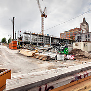 Construction site of Chartwell Hospitality LLC's Courtyard Marriott and Residence Inn properties at 16th Street between Baltimore and Main Streets, downtown Kansas City, Missouri.
