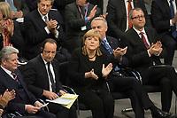22 JAN 2013, BERLIN/GERMANY:<br /> Joachim Gauck, Bundespraesident, Francois Hollande, Staatspraesident Frankreich, Angela Merkel, CDU, Bundeskanzlerin, Jean-Marc Ayrault, Premierminister Frankreich, und Andreas Vo&szlig;kuhle, Praesident des Bundesverfassungsgerichts, (v.L.n.R.), applaudieren waehrend der gemeinsamen Sitzung der Assemblee nationale und des Bundestages sowie der Regierungen, des Staatspraesidenten und des Bundespraesidenten anl. des 50. Jahrestages der Unterzeichnung des Elysee-Vertrages, Plenum, Deustcher Bundestag<br /> IMAGE: 20130122-01-006<br /> KEYWORDS: Assembl&eacute;e nationale, Elysee-Vertrag, Elys&eacute;e-Vertrag, Fran&ccedil;ois Hollande, Applaus, klatschen