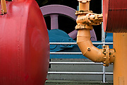 WA15264-00...WASHINGTON - Colorfully painted machinery at the Play Barn at Seattle's Gas Works Park on Lake Union.