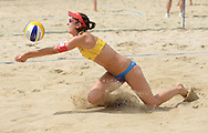 STARE JABLONKI POLAND - July 1:   Romana Kayser /1/ of Switzerland in action during Day 1 of the FIVB Beach Volleyball World Championships on July 1, 2013 in Stare Jablonki Poland.  (Photo by Piotr Hawalej)
