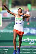 Abrha Milaw (ETH) celebrates after winning the 43rd Paris Marathon in 2:07:05 in an IAAF Gold Label road race in Paris, Sunday, April 14, 2019. (Jiro Mochizuki/Image of Sport)
