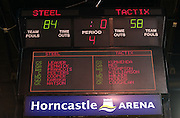 Scoreboard following the ANZ Championship Netball game between the Tactix v Steel at Horncastle Arena in Christchurch. 6th April 2015 Photo: Joseph Johnson/www.photosport.co.nz