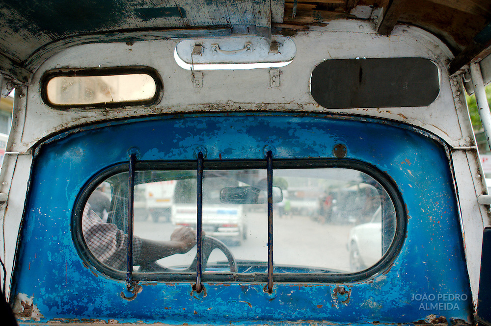 Inside view of the cheap taxis of Mandalay